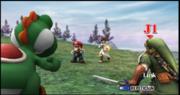 Link y Yoshi contra Mario y Pit La orilla del lago ESE SSBB.png