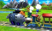 Link, Charizard, Samus y Sonic en el Tren de los Dioses SSB4 (3DS).jpg