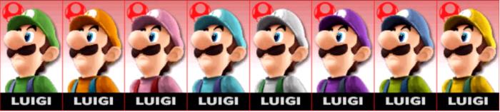 Paleta de colores de Luigi SSB4 (3DS).png