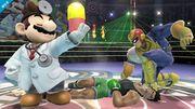 Dr. Mario, Captain Falcon y Little Mac en el Cuadrilátero SSB4 (Wii U).jpg