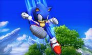 Sonic usando su ataque aéreo hacia abajo en el Campo de Batalla SSB4 (3DS).jpg