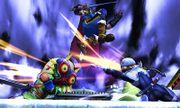 Espadachín Mii con la Máscara de Majora y el traje de Link contra Marth y Sheik SSB4 (3DS).jpg
