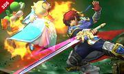 Roy atacando a Estela y Yoshi en el Bosque Genesis SSB4 (3DS).jpg