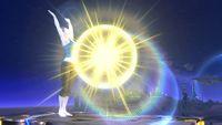 Entrenadora de Wii Fit cargando el saludo al sol en Super Smash Bros. para Wii U