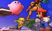 Kirby, Samus, Toon Link y Mario en el Campo de Batalla SSB4 (3DS).jpg