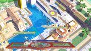 La Entrenadora de Wii Fit, Olimar y Samus Zero en Ciudad Delfino SSB4 (Wii U).jpg