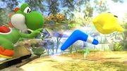Bumeran azul junto a Yoshi y Destello en Vergel de la esperanza SSB4 (Wii U).jpg