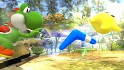 Yoshi lanzando un Bumerán en Super Smash Bros. for Wii U