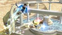 Pit y Pit Sombrío usando el Don del vuelo en Super Smash Bros. para Wii U.