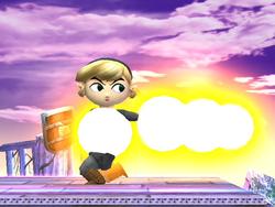 Hack que muestra a Toon Link junto a las burbujas de colisión de su ataque circular en Super Smash Bros. Brawl.