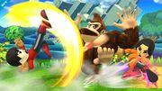 Donkey Kong junto a dos Miis Karateka en el Reino Champiñón U SSB4 (Wii U).jpg