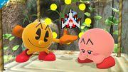 Pac-Man y Kirby en Vergel de la esperanza SSB4 (Wii U).jpg