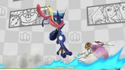 Greninja atacando a Zelda en el escenario Miiverse SSB4 (Wii U).jpg