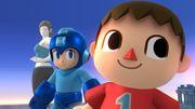 Aldeano, Mega Man y Entrenadora de Wii Fit en Campo de Batalla SSB4 (Wii U).jpg