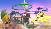 La Entrenadora de Wii Fit haciendo hula hoop contra Toon Link y Lucario en el Campo de batalla SSBWiiU.png