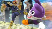 Captain Falcon atacando al Caco Gazapo en el Reino Champiñón U.png