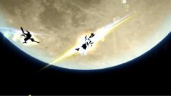 Greninja atacando a Mario con Técnica Floral Ninja en Super Smash Bros. for Wii U.