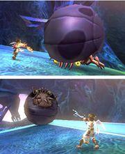 Pit atacando a un Megonita en Kid Icarus Uprising.jpg