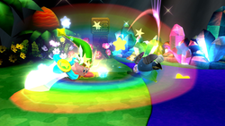 Kirby usando la Gran Espada en Super Smash Bros. for Wii U