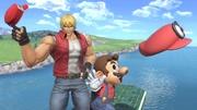 Terry y Mario en Castillo de Peach (Melee) SSBU.jpg