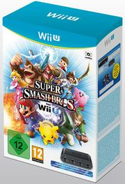 Pack europeo de Super Smash Bros. para Wii U con adaptador.jpg