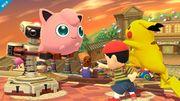 Jigglypuff junto a Pikachu, Ness y R.O.B. SSB4 (Wii U).jpg