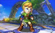 Espadachín Mii con el gorro y el traje de Link en el Campo de batalla SSB4 (3DS).jpg