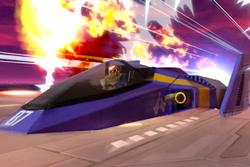 Vista previa de Halcón Azul/Blue Falcon en la sección de Técnicas de Super Smash Bros. Ultimate