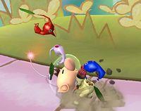 Olimar arrancando un Pikmin en Super Smash Bros. Brawl