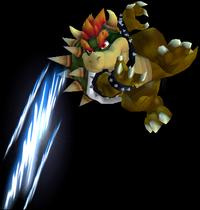Bowser usando la Garra Koopa en el aire en Super Smash Bros. Melee