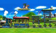 Charizard, Link, Samus y Sonic en el Tren de los Dioses SSB4 (3DS).jpg