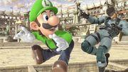 Luigi atacando a Snake en Coliseo SSBU.jpg