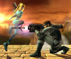 Samus Zero esquivando el misil a control remoto de Snake con una finta hacia abajo.