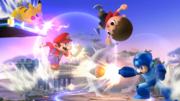 Mario, Mega Man, Pikachu y el Aldeano en el Campo de Batalla SSB4 (Wii U).png