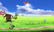 Yoshi y algunos enemigos en Smashventura SSB4 (3DS).png