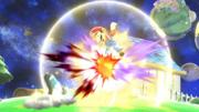Entrenadora de Wii Fit realizando saludo al sol contra Mario en Galaxia Mario SSBWiiU.png