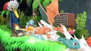Squirtle, Ivysaur y Charizard en El gran ataque de las cavernas SSBU.jpg