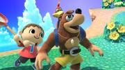 Aldeano a punto de hacer un agarre hacia Banjo y Kazooie en la Isla Tortimer SSBU.jpg