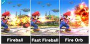 Todos los tipos de Bola de fuego de Mario SSB4 (Wii U).jpg