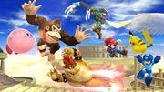 Kirby, Donkey Kong, Bowser, Pikachu, Mario, Megaman, Link y la Entrenadora de Wii Fit en el Reino del Cielo SSB4 (Wii U).jpg