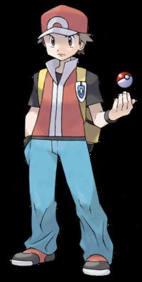 Art oficial de Rojo en Pokémon Rojo Fuego y Pokémon Verde Hoja.