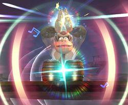 Donkey Kong usando el Konga Beat en Super Smash Bros. Brawl