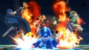 Mega Man atacando a Marth y a Link en el Castillo de Wily SSB4 (Wii U).png