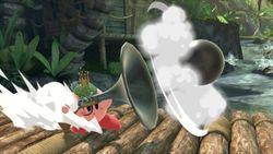 Kirby volviendo a lanzar la bala.