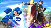 Marth atacando a Mega Man con un Tajo Delfin - (SSB. for Wii U).jpg