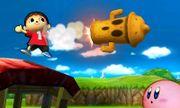 El Aldeano lanzando su ataque especial, el Lloid Rocket - (SSB. for 3DS).jpg