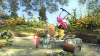 Olimar siendo elevado por dos Pikmin alados en Super Smash Bros. for Wii U