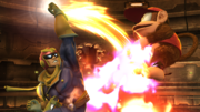 Captain Falcon atacando a Diddy Kong en la Pirosfera SSB4 (Wii U).png