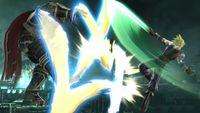 Cloud utilizando el ataque en el aire y con el Límite al máximo en Super Smash Bros. para Wii U.