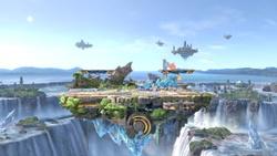 Vista general del Pequeño campo de batalla en Super Smash Bros. Ultimate